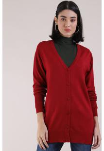 Cardigan De Tricô Feminino Decote V Vermelho Escuro