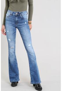 c76d02ca8 ... Calça Jeans Feminina Sawary Flare Com Rasgos Azul Médio