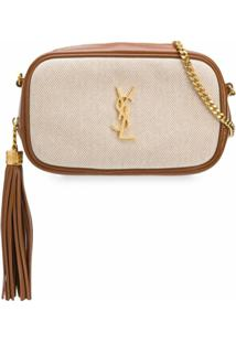 Saint Laurent Bolsa Transversal Lou Mini Bicolor - Marrom