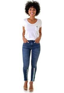 Calça Jeans Skinny Opera Rock Detalhe Ziper Feminina - Feminino-Azul