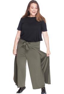 Calça Pantalona Envelope Bold Plus Size Verde