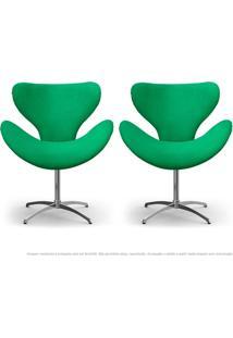 Kit De 02 Cadeiras Decorativas Poltronas Egg Verde Com Base Giratória