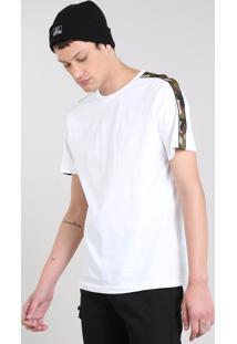 Camiseta Masculina Com Recorte Estampado Camuflado Manga Curta Gola Careca Branca