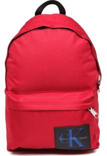 Mochila Calvin Klein Jeans Grande Aplique Vermelha