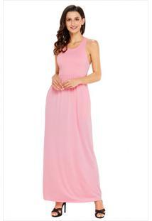 Vestido Longo Com Alça E Bolso Lateral - Rosa Xgg
