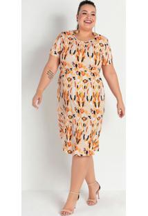 Vestido Midi Étnico Laranja Com Babado Plus Size