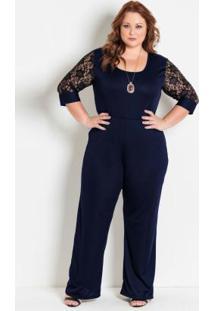 Macacão Pantalona Marinho Plus Size