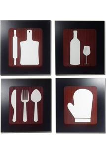 Kit 4 Quadros Decorativos Para Restaurante E Cozinha Fabricado Em Mdf Com Relevo 33X30Cm