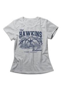 Camiseta Feminina Stranger Things Hawkins Cinza
