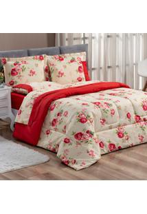 Kit Edredom Forest Floral Vermelho Queen Micropercal 200 Fios Dupla Face 03 Peã§As - Vermelho - Dafiti