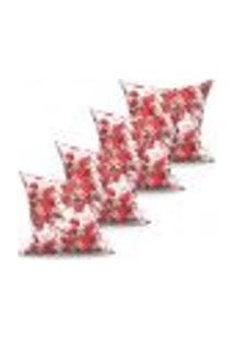 Conjunto De Capas De Almofadas Com 4 Peças Fiori Vermelho 60X60 Cm