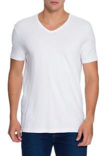 Camiseta Ck Swim Gola V Etiqueta Barra - Branco - P