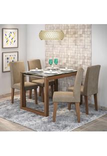 Conjunto Sala De Jantar Mesa Tampo Em Vidro Anita 4 Cadeiras Milena Siena Móveis Savana/Suede Marfim