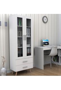 Armário Para Escritório Com Portas De Vidro E 2 Gavetas Bliv - Branco