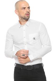 Camisa Calvin Klein Jeans Reta Logo Branca