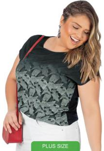Blusa Plus Size Estampada Preto