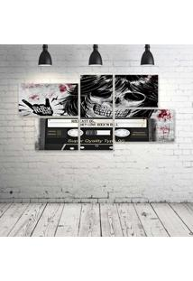 Quadro Decorativo - Rockcast-Skull - Composto De 5 Quadros