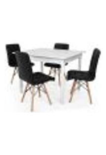 Conjunto Mesa De Jantar Robust 110X90 Branca Com 4 Cadeiras Eiffel Gomos - Preta