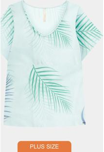 Blusa Plus Size Malha Estampada Verde