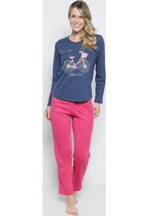 Pijama Bicicleta ''Bonjour Paris''- Azul Marinho & Rosa