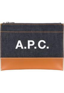 A.P.C. Clutch Com Logo E Zíper - Azul