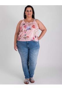 Blusa De Alça Belas Marias Em Paetê E Renda - Floral - Multicolorido
