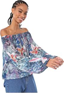 Blusa Desigual Silke Azul/Rosa