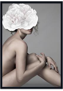 Quadro 60X90Cm Joana Mulher Com Flor Branca Nórdico Moldura Preta Com Vidro