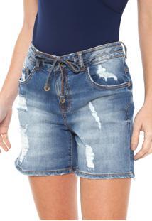 Bermuda Jeans Lez A Lez Reto Destroyed Azul