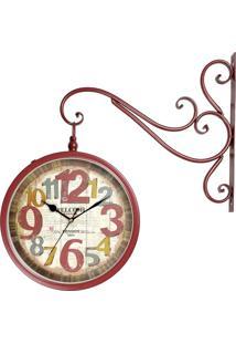 Relógio De Parede Para Decoração Vintage Retrô Estilo Estação Ferroviária Face Dupla London 1889 R3P Import