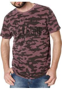 Camiseta Manga Curta Masculina Camuflada Bordô