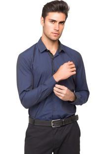 Camisa Social Tony Menswear Slim Fit Maniquetada Azul-Marinho