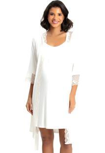 Robe Recco C/ Camisola Viscose Renda Bege - Bege - Feminino - Dafiti