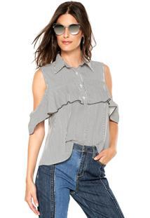 86b536340f ... Blusa Ciganinha Lily Fashion Listras Branca Preta