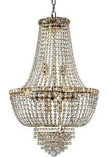 Lustre Fontana Gemelli Com Castanha De Cristal 12 Lâmpadas De Led - Dourado