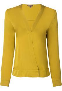 Camisa Bobô Helena Seda Amarelo Feminina (Verde Curry, 44)