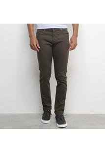 Calça Jeans Aleatory Sarja Color Masculina - Masculino-Verde Militar