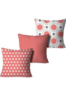 Kit 3 Capas Love Decor Para Almofadas Decorativas Poá Multicolorido Rosa