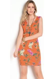Vestido Tubinho Floral Laranja