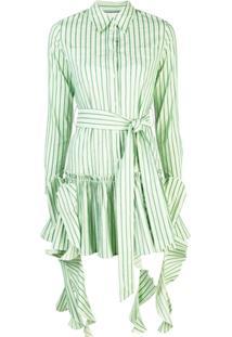 Alexis Vestido Listado Com Cinto - Verde