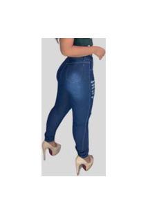 Calça Jeans Feminina Skinny Top Ii Fec Fashion Rasgada Joelho Azul
