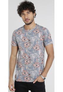 Camiseta Masculina Slim Fit Estampada Floral Manga Curta Gola Careca Rosê