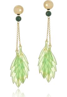 Brinco Le Diamond Folhas De Verão Verde