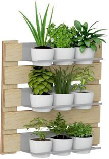 Kit Jardim Vertical 1008 Lyam Decor Green Com 09 Cachepots Bege
