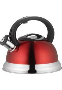 Chaleira Inox 3 Litros Fundo Triplo Com Apito - Chaleira Reforçada - Vermelha