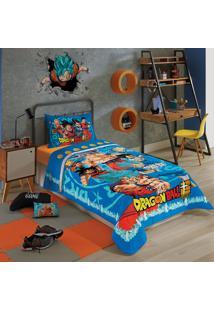 Edredom Solteiro Lepper Dragon Ball 1 Peça Azul