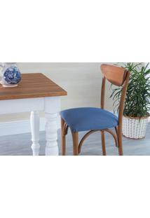 Cadeira De Jantar Estofada Amélie - Stain Jatobá - Tec.930 Azul Claro - 44,5X45X81 Cm
