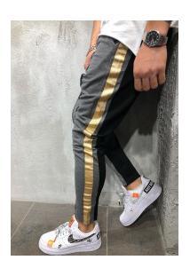 Calça Masculina Slim Striped Duas Cores - Cinza E Preto