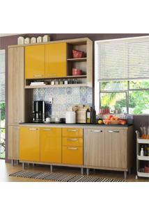 Cozinha Completa Multimóveis Com 5 Peças Sicília 5813 Argila/Amarelo
