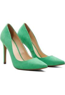 Scarpin Suede Salto Alto Bico Fino Casual Conforto Ecomshoes Feminino - Feminino-Verde